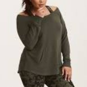 Torrid: Olive French Terry Off Shoulder Tunic
